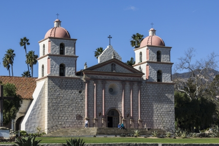 barbara: Editorial photo of the historic Santa Barbara Mission in Southern California.