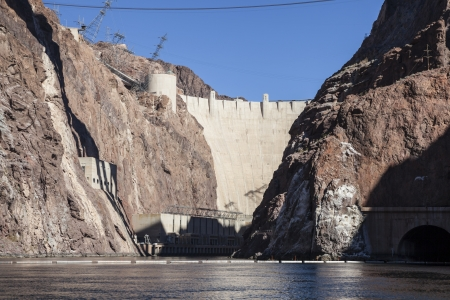 hoover: Hoover dam and the Colorado river between Nevada and Arizona