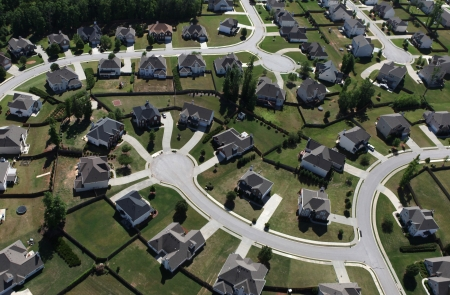 aerial: Aerial of modern suburban housing in the eastern United States