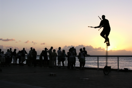 Editorial photo of sunset street entertainment in Key West Florida.           Stock Photo - 18646124