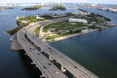 Editorial Aerial photo of the MacArthur Causeway in Miami Beach, Florida .