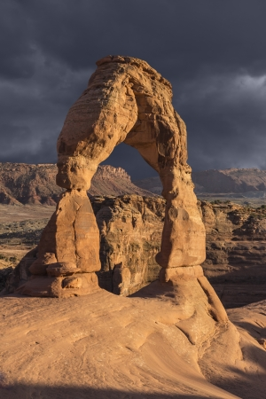 Delicate arch and storm in Arches National Park, Moab Utah. Stock Photo - 18782442