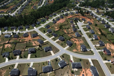 neighborhood: Modern middle class suburban neighborhood aerial.