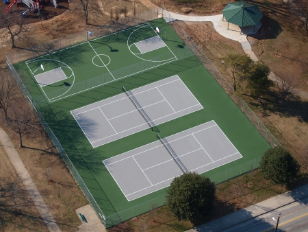 Tennis and basketball courts aerial in a eastern US public park. Stock Photo - 18782452