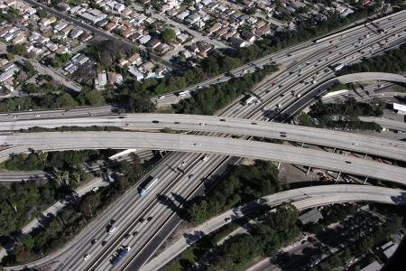 Los Angeles Freeway interchange aerial. Stock Photo - 18855662