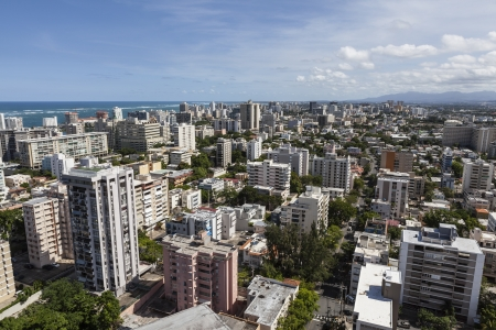 Downtown San Juan, Puerto Rico aerial. Stock Photo