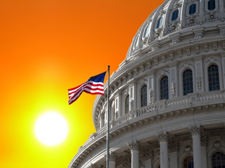 Sunrise over the US Capitol building dome in Washington DC. Stock Photo - 19082164