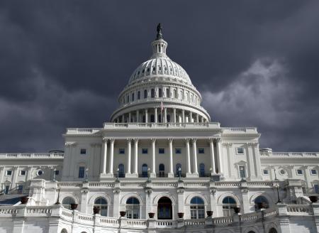 US Capitol building with dark storm sky in Washington DC.   Standard-Bild