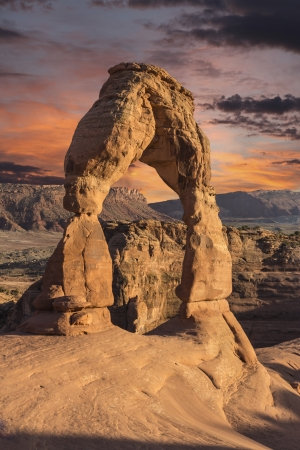Delicate arch and sunset sky in Arches National Park, Moab Utah. Stock Photo - 19409185