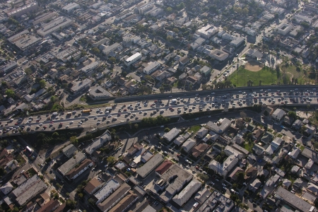 congested: Congested Los Angeles freeway aerial.