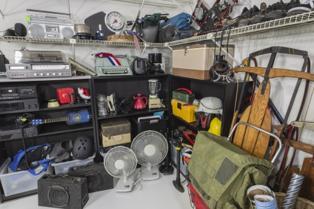 Vintage items in a residential garage sale setting.