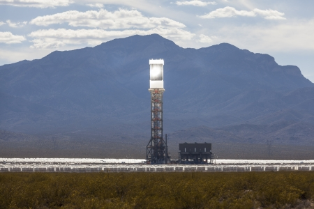 Editorial photo of the massive newly operational 392 megawatt Ivanpah solar thermal power plant in California
