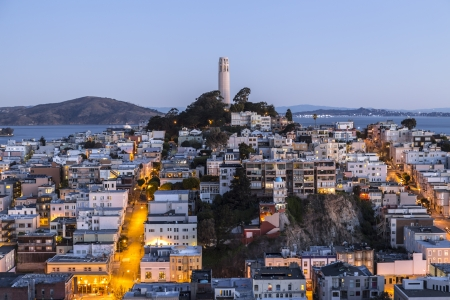 coit tower: Aerial dusk view of Coit tower in downtown San Francisco, California  Stock Photo