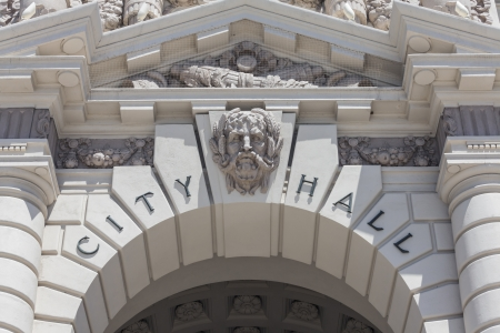 Pasadena City Hall building sign detail in southern California. Stock Photo - 19642936