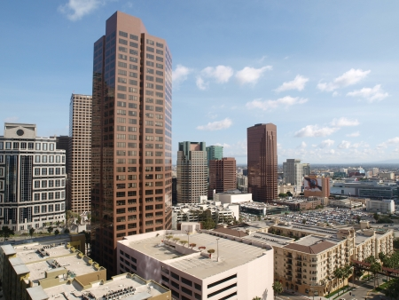 Editorial photo of office towers in the South Park area of downtown Los Angeles.     Stock Photo - 19642938