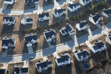 suburban: Aerial of typical modern suburban housing track in the eastern United States