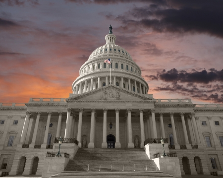 Dawn sky over the United States Capitol building in Washington DC