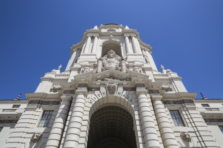 Grand entrance to the historic Pasadena city hall building in southern California.   Stock Photo - 19739801