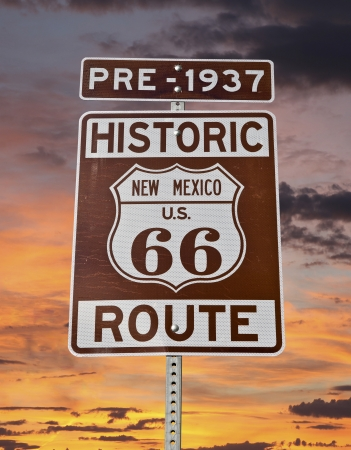 Historic Route 66 New Mexico Sign with sunrise sky. photo