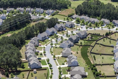 Typical upscale modern suburb aerial in the eastern United States.