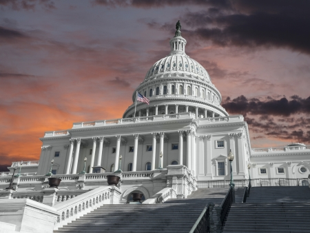 United States Capitol building with sunrise sky. Banco de Imagens