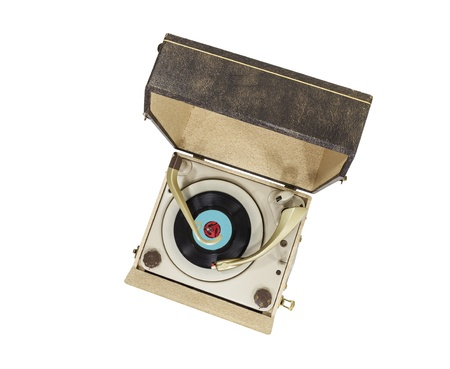 Vintage turntable record player box isolated with clipping path. photo