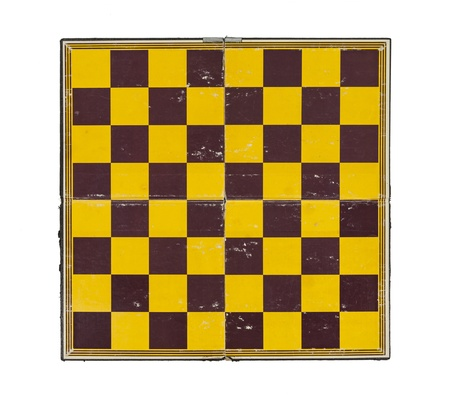 Worn grungy vintage chessboard isolated on white. Stock Photo - 20246168