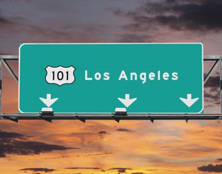 101 Hollywood Freeway in Los Angeles with sunrise sky. Stock Photo - 20246164