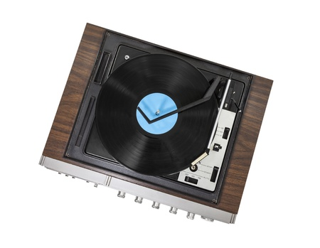 Vintage stereo turntable isolated with clipping path. Stock Photo - 20246166