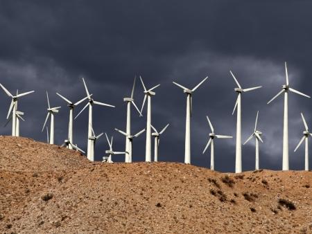 Desert wind mills with thunderstorm sky Stock Photo - 20366270