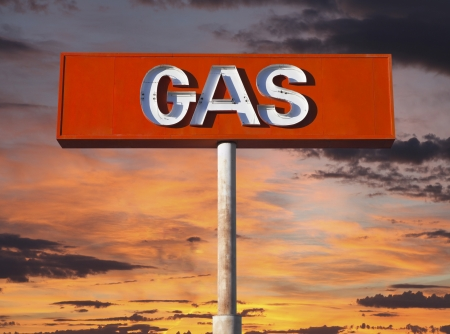 Vintage neon gas sign with sunset sky  Stock Photo - 20420065