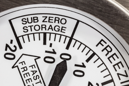 cooler: Sub zero storage refrigerator thermometer macro detail  Stock Photo