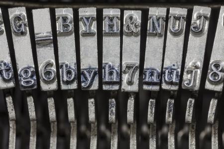 typewrite: Vintage typewriter typebar hammers extreme macro