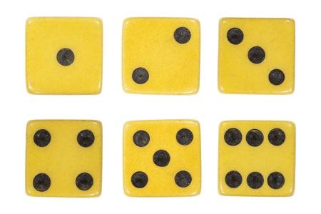Vintage dice extreme macro isolated on white  Stock Photo - 20430074