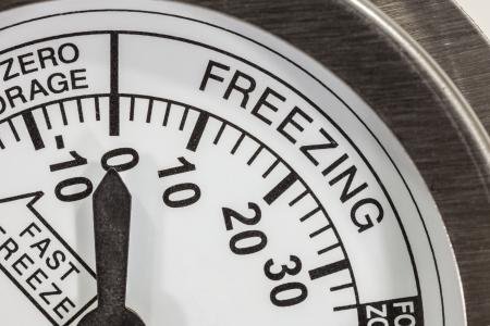 Freezing zone refrigerator thermometer macro detail