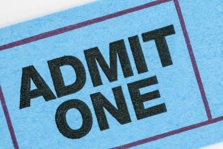 admit one: Generic ticket stub macro detail.
