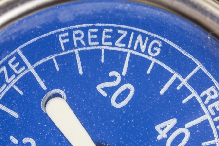 Vintage refrigerator thermometer freezing zone macro detail