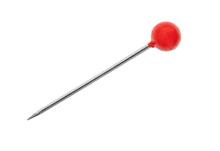 pinhead: Red pin macro detail with clipping path.