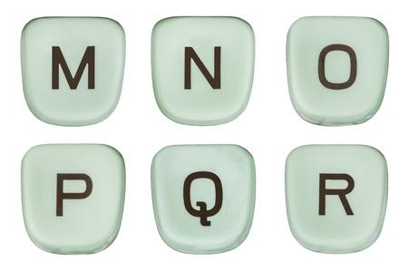 Vintage green typewriter keys macro detail letters M through R.  Stock Photo - 20625195