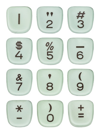Vintage typewriter number keys macro detail isolated. Stock Photo - 20831643