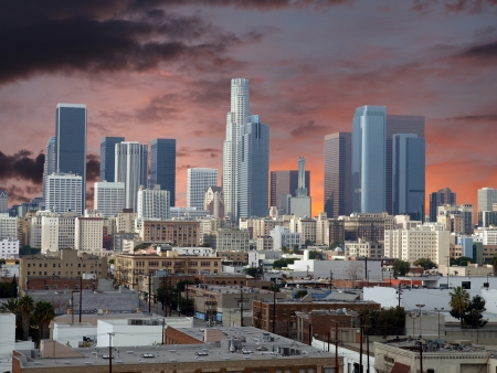 los angeles county: Downtown Los Angeles with sunset sky.