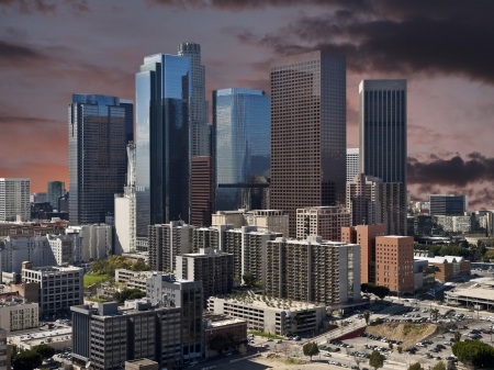 Downtown Los Angeles with sunset sky. Stock Photo - 21419086