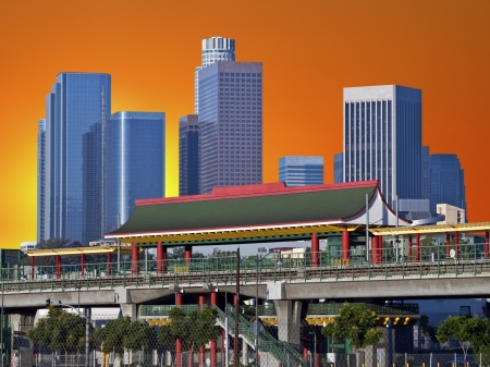Downtown Los Angeles Chinatown Metro Station with dusk sky. Stock Photo - 21419078