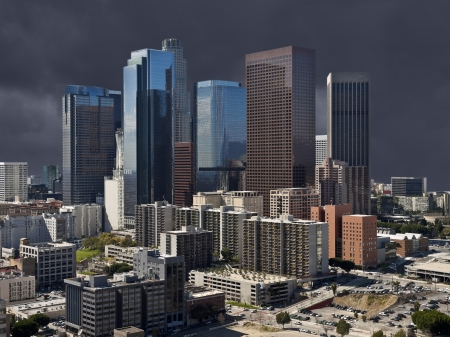 Downtown Los Angeles with dark storm sky. Stock Photo - 21419092
