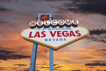 Las Vegas welcome sign with sunrise sky. 写真素材