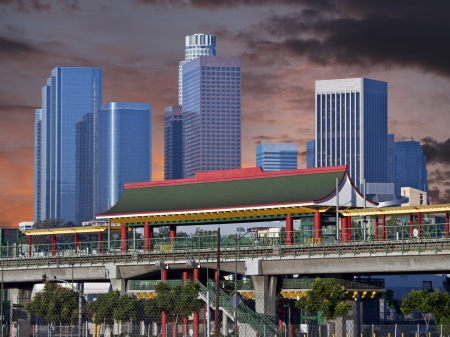 Downtown Los Angeles Chinatown Metro Station with sunset sky. Stock Photo - 21580435