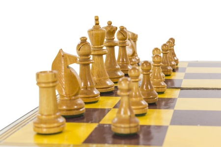 Vintage wooden chess set white side line up. Stock Photo - 21580429
