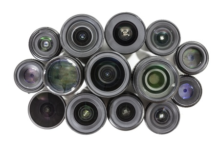 Collection of vintage camera lenses with text and markings removed. Stock Photo - 21580431