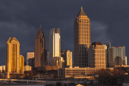 midtown: Atlanta Georgia skyline with thunderstorm sky Stock Photo