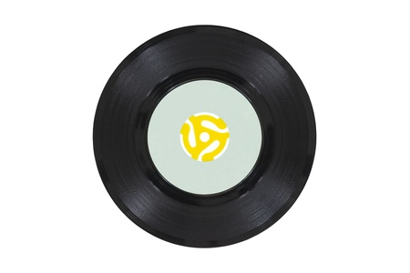 Vintage 45 rpm vinyl phonograph with yellow record player adapter Stock Photo - 21892600